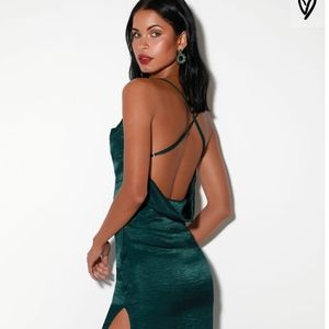 Teal Green Satin Sleeveless Midi Dress